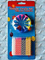 Cвечи в торт, 24 свечи + 12 подставок, диаметр свечи 0,5 см, высота 6 см