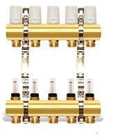 Коллектор двойной с регулируемыми расходомерами и креплением - 5 выходов APC