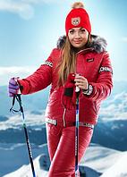 Зимний женский спортивный костюм с капюшоном на искусственной овчине