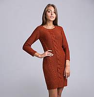 Модное женское теплое платье-туника терракотового цвета
