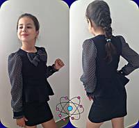 Школьное платье с бааской, рукава и бант декорирован принтом-горох