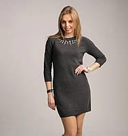 Модное женское вязаное платье-туника темно-серого цвета