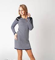 Стильное вязаное женское платье-туника с вставками из эко-кожи