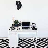 Ковер Ohaina белый с черным 290х200 в ромб