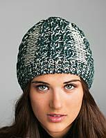 Стильная женская зимняя шапка из меланжевой пряжи
