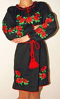 Платье вышиванка с маками черное