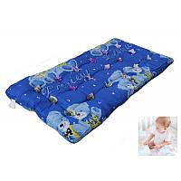 Детский ватный матрас 60х120х6 Синие Мишки