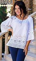 Легкая женская блузка свободного фасона с перфорацией рукав три четверти хлопок батал