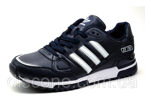 Кроссовки Adidas ZX750, мужские, темно-синие с белым