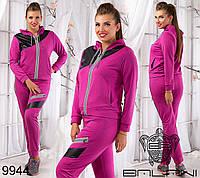 Модный женский спортивный костюм со вствками из эко кожи
