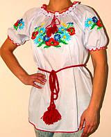 Женская вышиванка с маками и незабудками короткий рукав