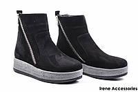 Ботинки женские нубук Lottini (ботильоны комфортные, байка)