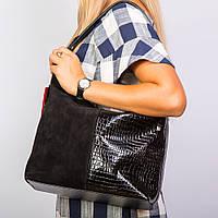 Замшевая сумка-мешок черная комби лак/замш