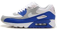 Мужские кроссовки Nike Air Max 90 (найк аир макс) сине-белые