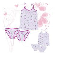 Комплект детского белья  для девочек ТМ Фламинго (майка+двое трусиков) артикул 239-420