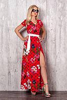 Летнее длинное платье с запахом на поясе красного цвета с ирисами