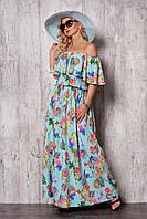 Длинное шелковое летнее платье голубого цвета со спущенными плечами и воланом