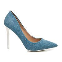 Джинсовые туфли-лодочки на шпильке голубые