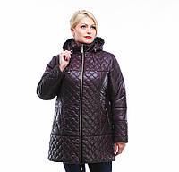 Куртка зимняя женская стеганная большие размеры,М-315 шоколад.