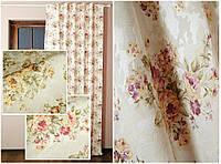 Ткань дял штор в стиле прованс с цветами