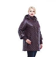 Куртка зимняя женская стеганная больших размеров,М-319 шоколад