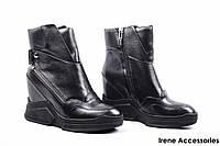 Ботинки женские кожаные Basconi (сникерсы модные, байка)