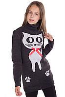 Вязаная туника с котом для девочки