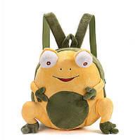 Рюкзак детский унисекс Лягушонок для садика, рюкзачек плюшевый