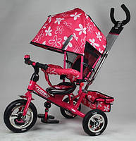 Детский трехколесный велосипед PROFI TURBO М 5363-3-1 (розовый с розовой рамой). Усиленная двойная ручка