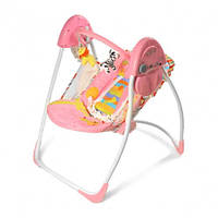 Детская кресло-качалка шезлонг колыбель электрическое BT-SC-002. Мобиль 4 скорости качания.12 мелодий. Розовая