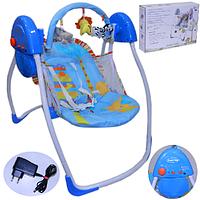 Детская кресло-качалка шезлонг колыбель электрическое BT-SC-002. Мобиль 4 скорости качания.12 мелодий. Голубая