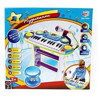 Детское пианино со стульчиком JT 7235, 16 мелодий/8 ритмов, подсветка, микрофон, запись