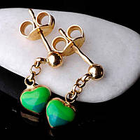 Золотые сережки с эмалью