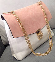 Сумка-клатч на цепочке Chloe (копия) белая с розовым