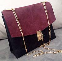 Сумка-клатч на цепочке Chloe (копия) бордо с черным