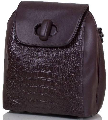 Женская удобная сумка-рюкзак из качественного кожезаменителя ANNA&LI (АННА И ЛИ) TU13829-brown (коричневый)