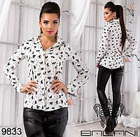 Модная женская блуза с длинным рукавом и принтом кошечки
