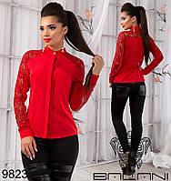 Красивая однотонная блузка со вставками из гипюра