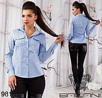 Молодежная  женская рубашка из стрейч коттона  с длинным рукавом