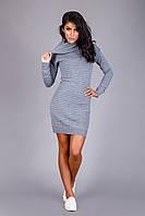 Изумительное теплое вязаное платье из полушерстяной пряжи | серый