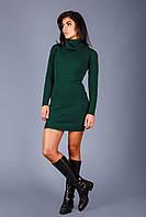 Изумительное теплое вязаное платье из полушерстяной пряжи | т.зеленый