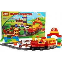 Детская железная дорога JIXIN 6188В, игра на батарейках АА, звук, свет, человечки, животные