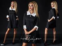 Черное платье с белым воротом и манжетами