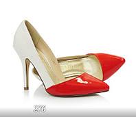 Туфли лодочки женские лаковые с красным носком