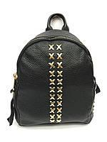 Женский кожаный мини рюкзак черного цвета
