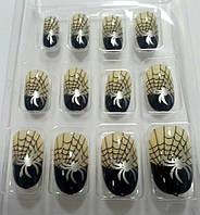 """Накладные самоклеющиеся ногти """"Паутина"""" набор из 12 штук"""