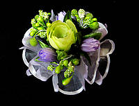 Заколка ручной работы букет цветов, сиреневый