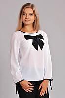 Белая шифоновая блуза с бантом (Д.И.В.)