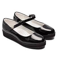 Школьные туфли для девочки, лак, размер 32-37