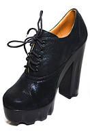 Женские осенние туфли из натуральной кожи на высоком каблуке-платформе.
